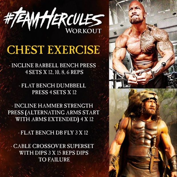Dwayne The Rock Johnson share his chest training routine