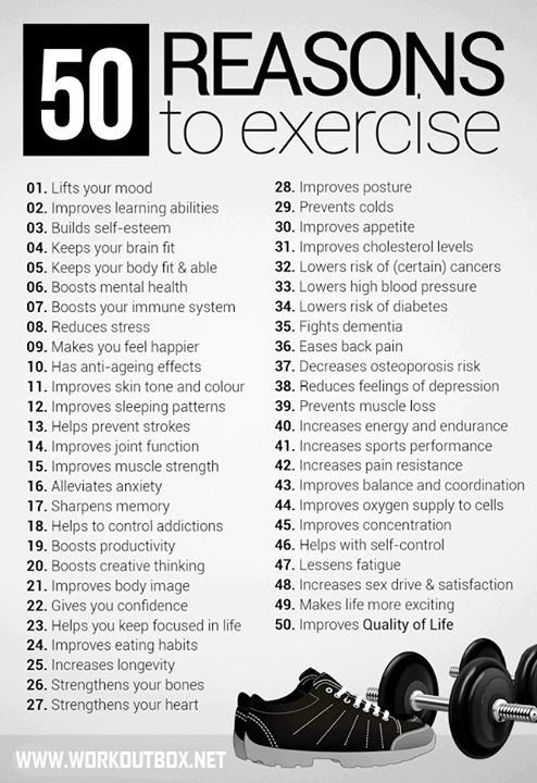 50 GOOD Reasons Why You Should Exercise