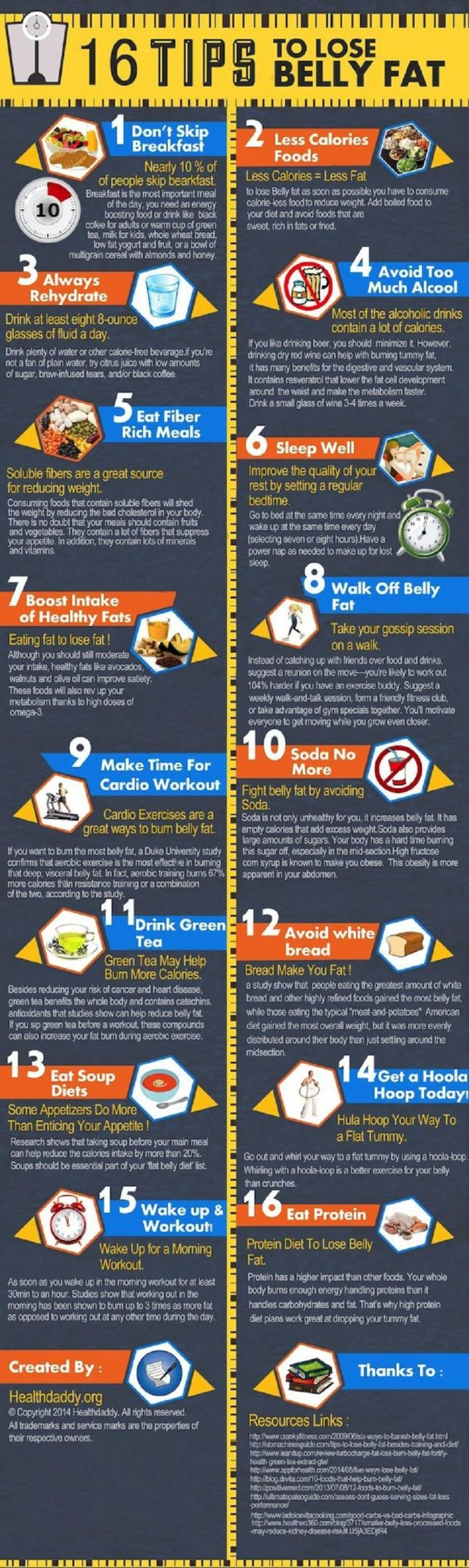 16 Useful Tips To Rid of Belly Fat Infographic