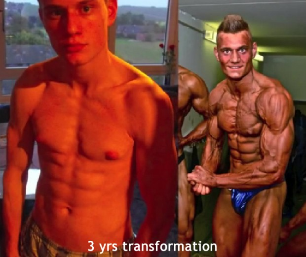 Skinny Teen Ectomorph 3 year Muscular Transformation