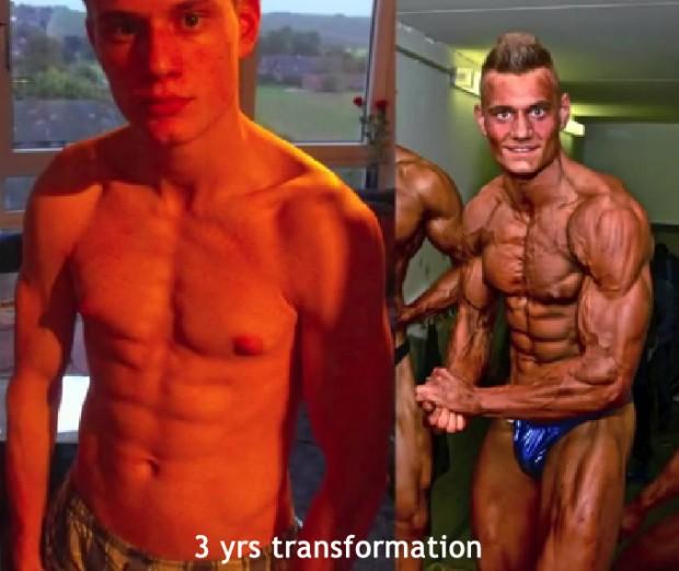 Skinny Teen Ectomorph 3 year Muscular Transformation