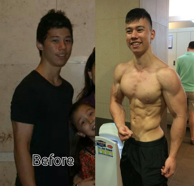 Josh before & after. Right 3 months ago prior to competing.